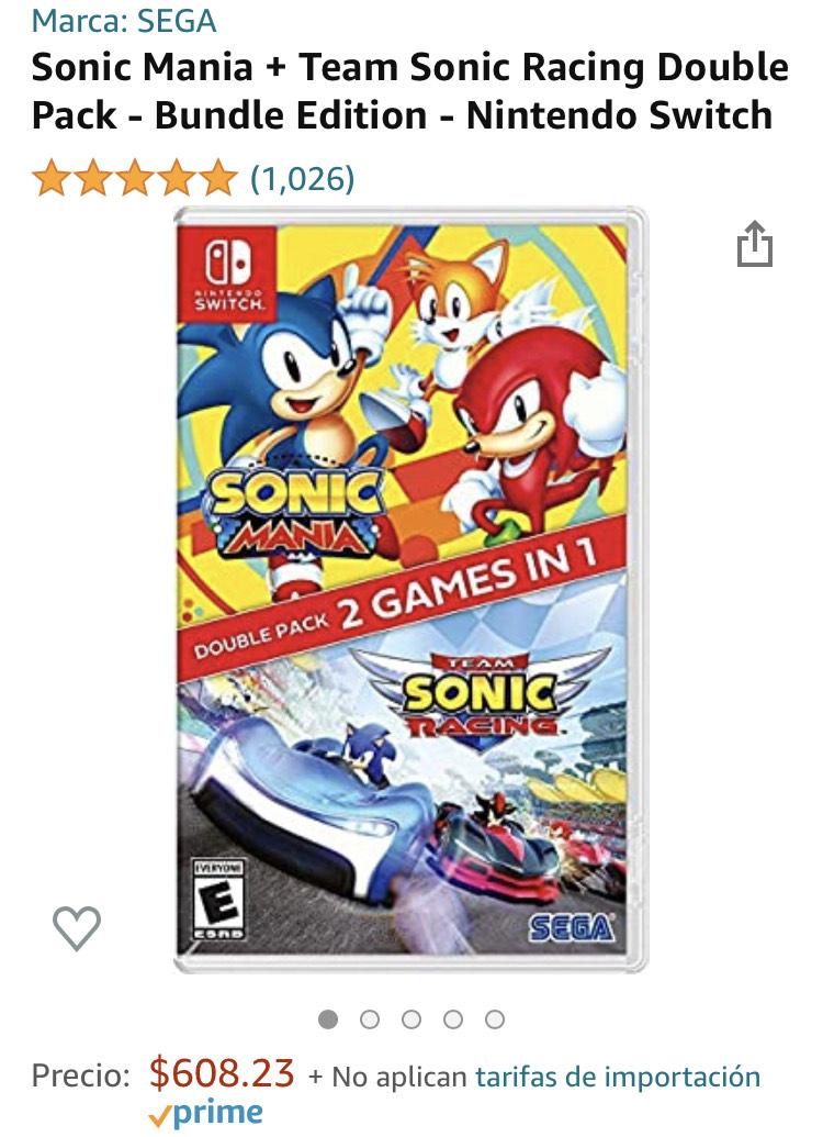 Amazon: Sonic Mania + Team Sonic Racing Double Pack - Bundle Edition - Nintendo Switch
