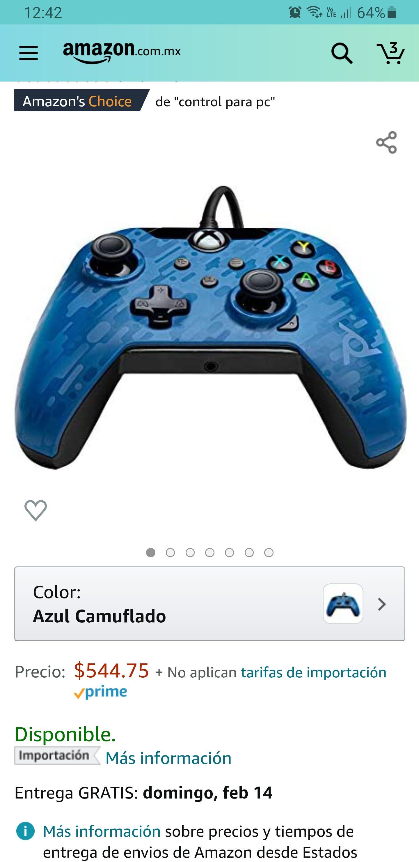 Amazon: Control Alámbrico para Xbox One y Series X/S