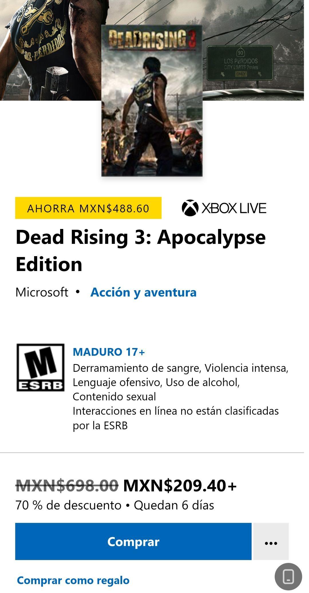 Dead Rising 3: Apocalypse Edition XBOX (juego digital)
