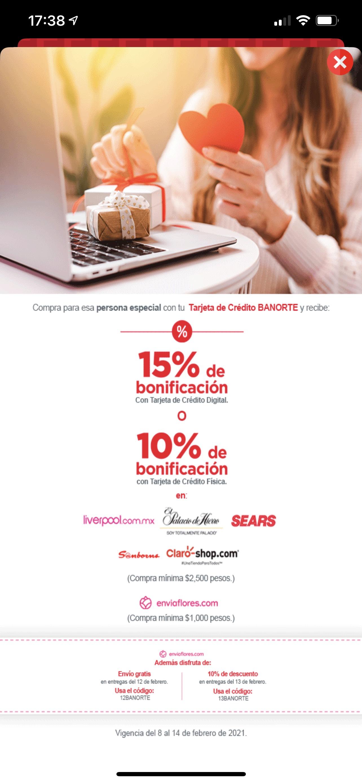 Banorte: Bonificación del 15% con tarjeta digital y 10% con tarjeta física