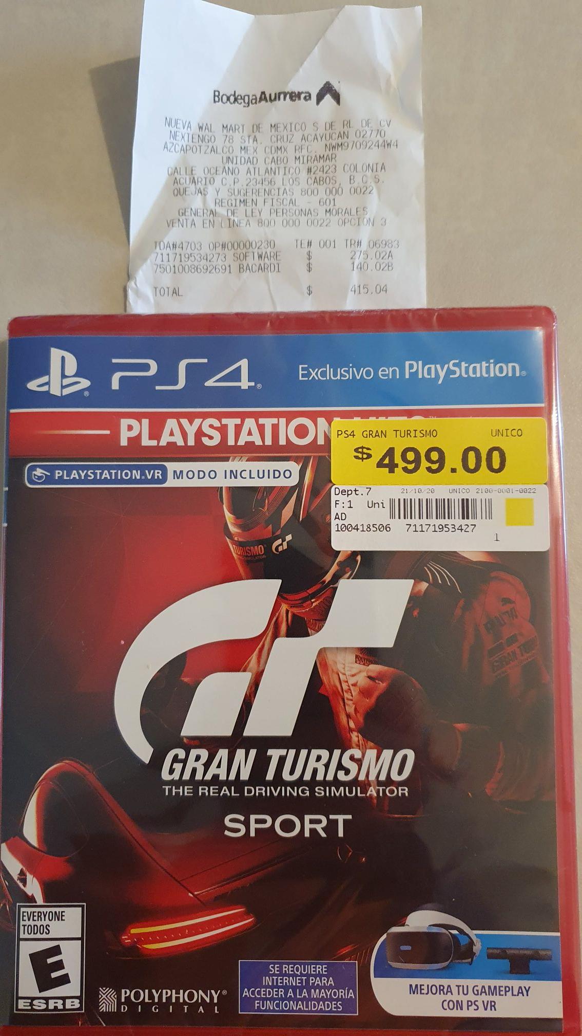 Bodega Aurrera: GRAN TURISMO PS4 en segunda liquidacion