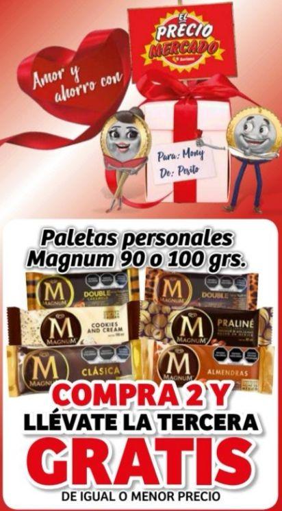 Soriana Mercado y Express: 3 x 2 en paletas personales Magnum 90 o 100 g.