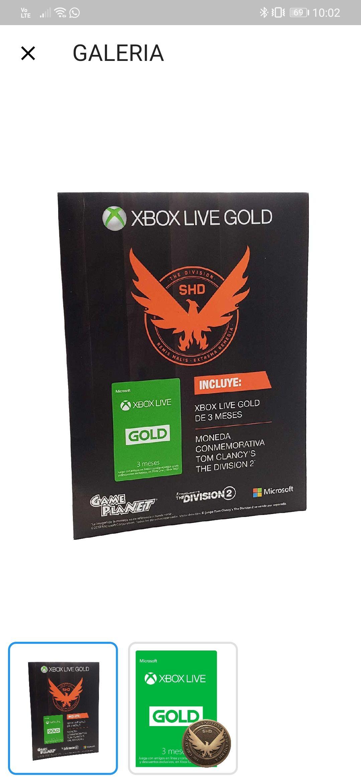 Game planet: Xbox live 3 meses + moneda conmemorativa.