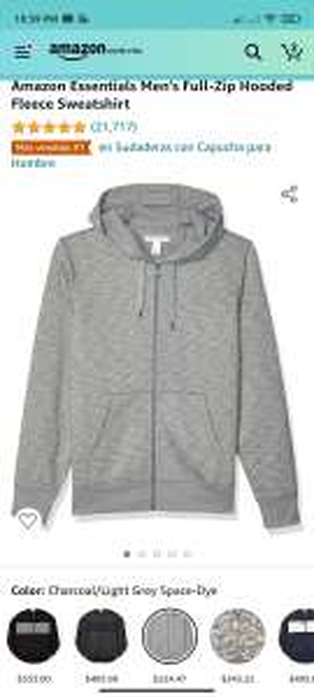 Amazon Essentials Men's Full-Zip Hooded Fleece Sweatshirt - Sudadera con capucha para hombre - Talla XS