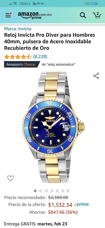 Amazon: Reloj Invicta Pro Diver para Hombres 40mm, pulsera de Acero Inoxidable Recubierto de Oro