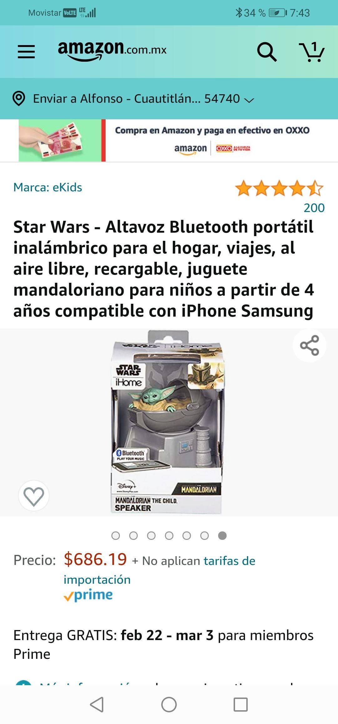 Amazon: Bocina Bluetooth de Baby Yoda