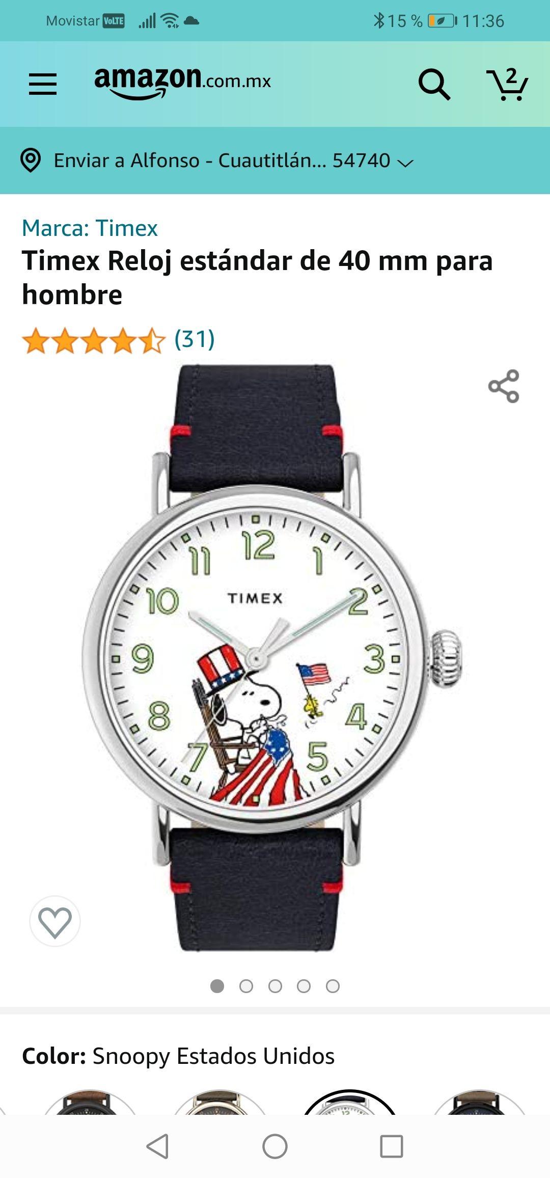 Amazon: Reloj Timex snoopy