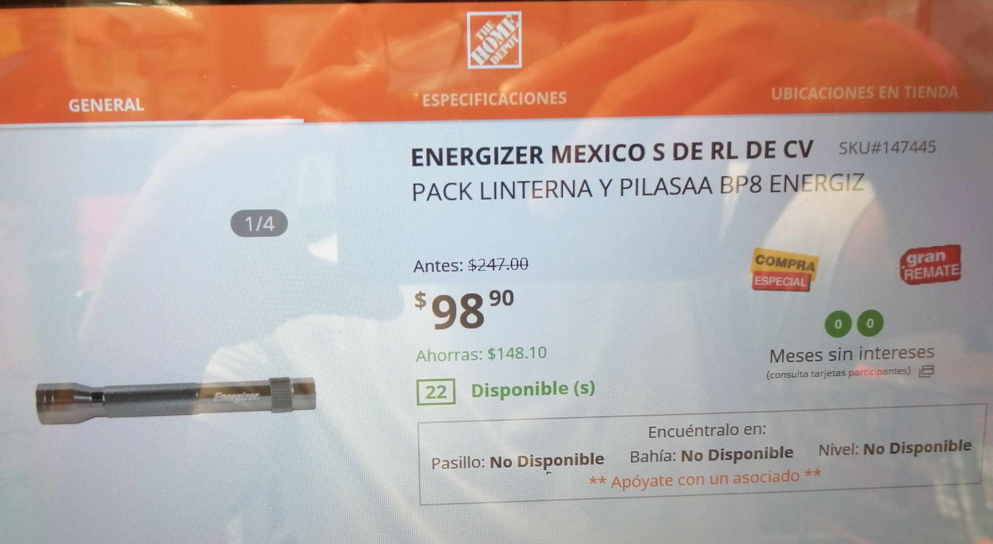 Home Depot Acapulco Diamante 8 baterias AA Energizer + lámpara