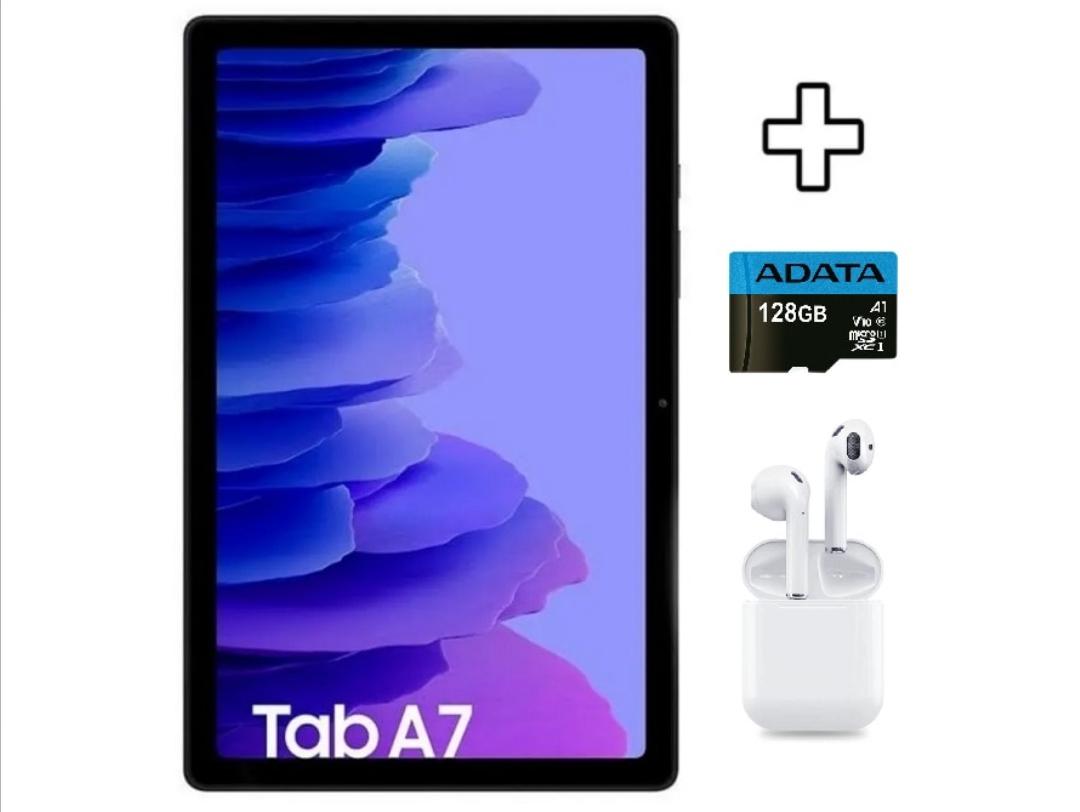 """Claro Shop: Tablet Samsung TAB A7 10.4"""" 3GB RAM + 32GB 7040 mAh + Audifonos BT y Micro SD 128GB - Gris"""