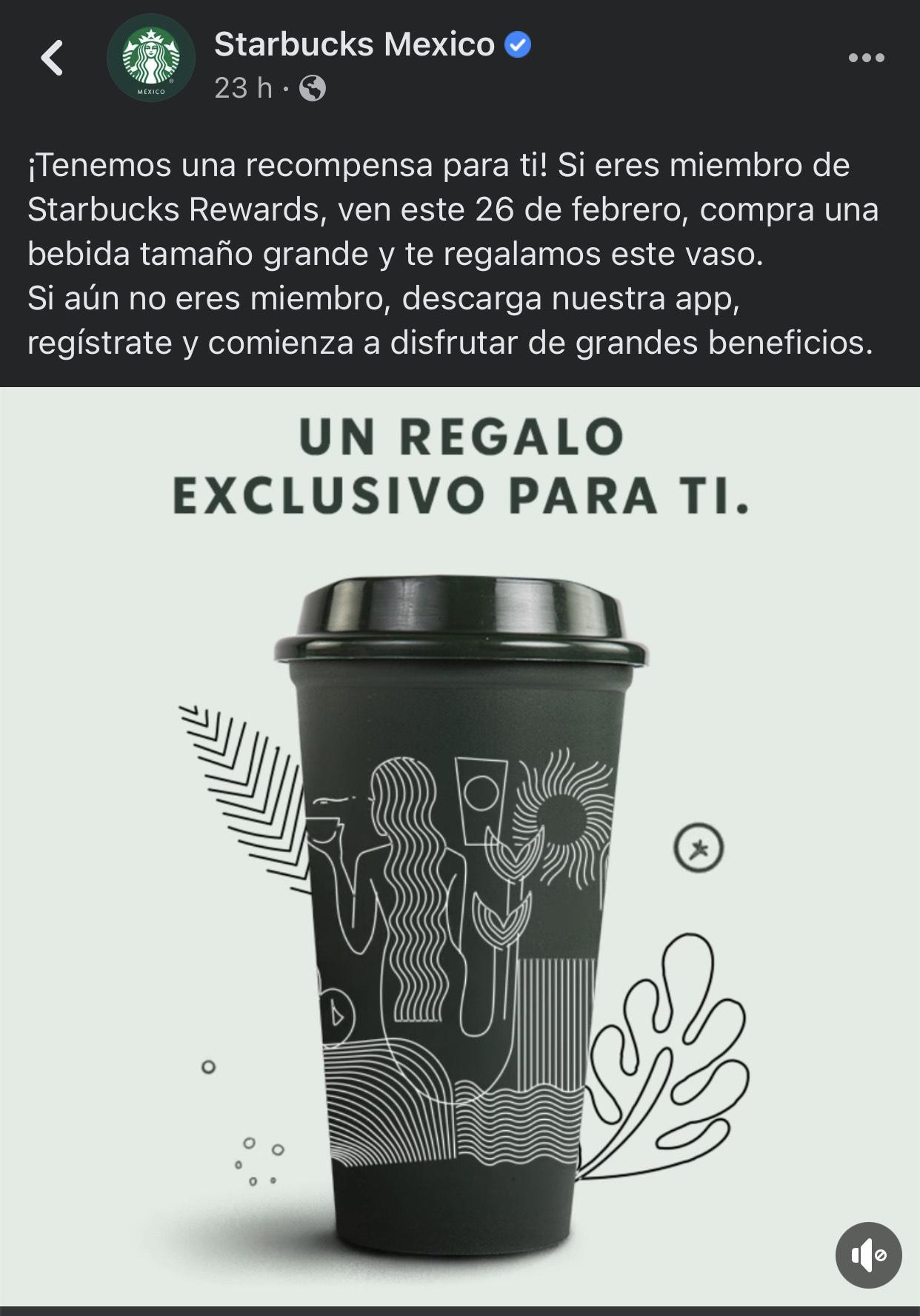 Starbucks: Vaso GRATIS en la compra de una bebida (Miembros Rewards - 26 Feb )