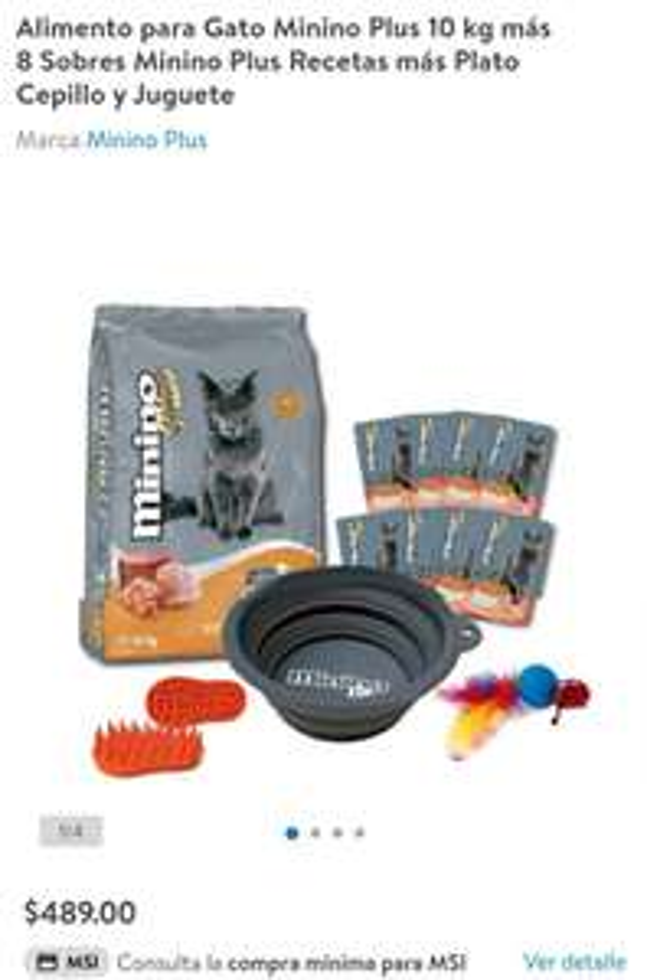 Walmart: Alimento para Gato Minino Plus 10 kg más 8 Sobres Minino Plus Recetas más Plato Cepillo y Juguete