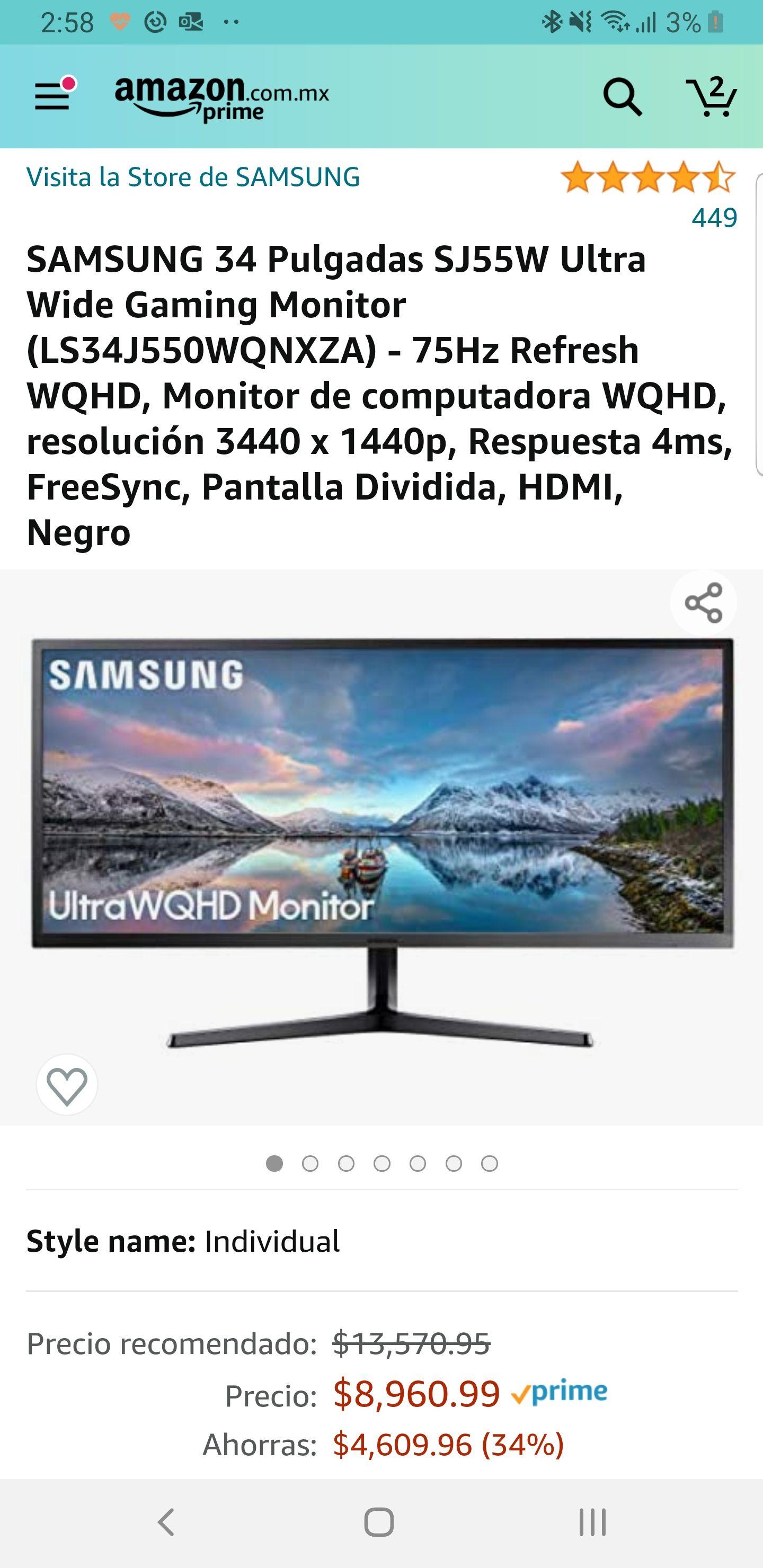 Amazon: Monitor Samsung Ultra Wide 34 QHD