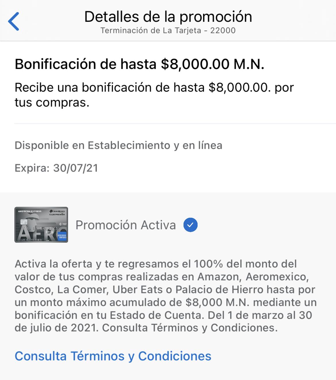 American Express: Bonificación de hasta $8000 MXN