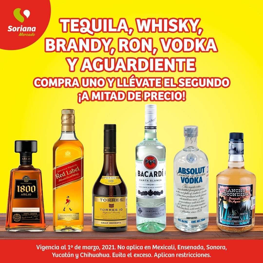 Soriana Mercado y Express: 2 x 1½ en tequila, whisky, brandy, ron, vodka y aguardiente