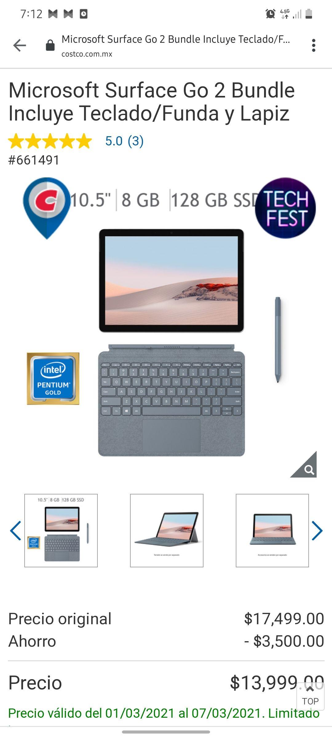 Costco, Surface Go 2 bundle, con teclado/funda y lápiz de precisión.