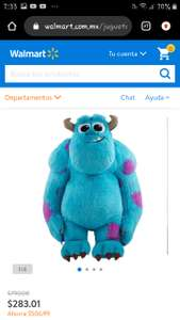 Walmart: Peluche Disney Pixar Monsters Inc. Sully 79.7 cm