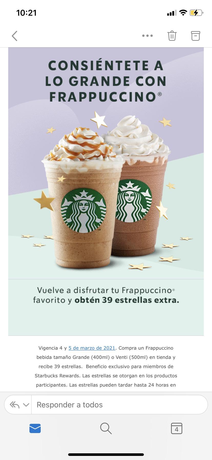Starbucks: 39 estrellas extra al comprar un frappuccino grande o venti