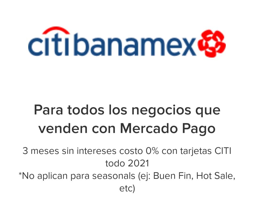 Mercado Pago: 0% de comisión en pagos a 3 MSI pagando con Citibanamex