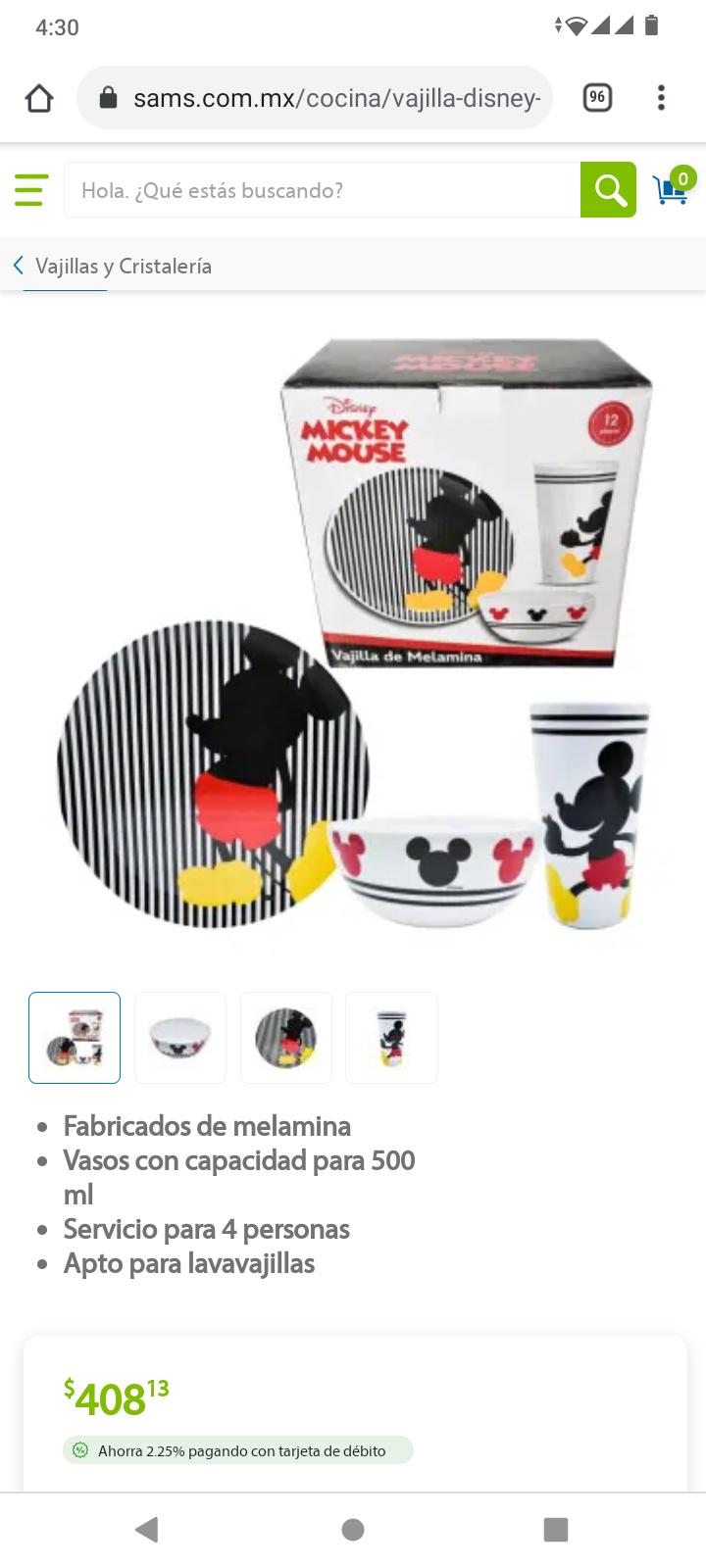Sam's Club: Vajilla Disney Mickey Mouse con 12 pzas