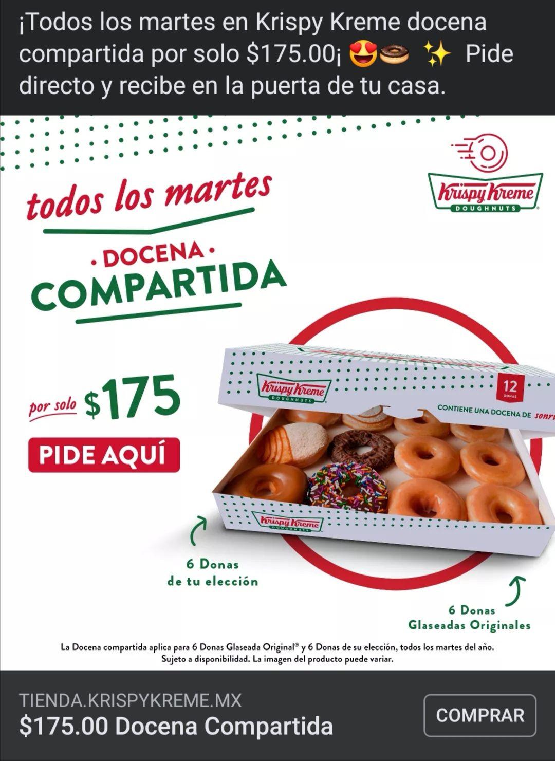 Krispy Kreme Docena de donas glaseadas y originales en 175 todos los martes del año, en línea.