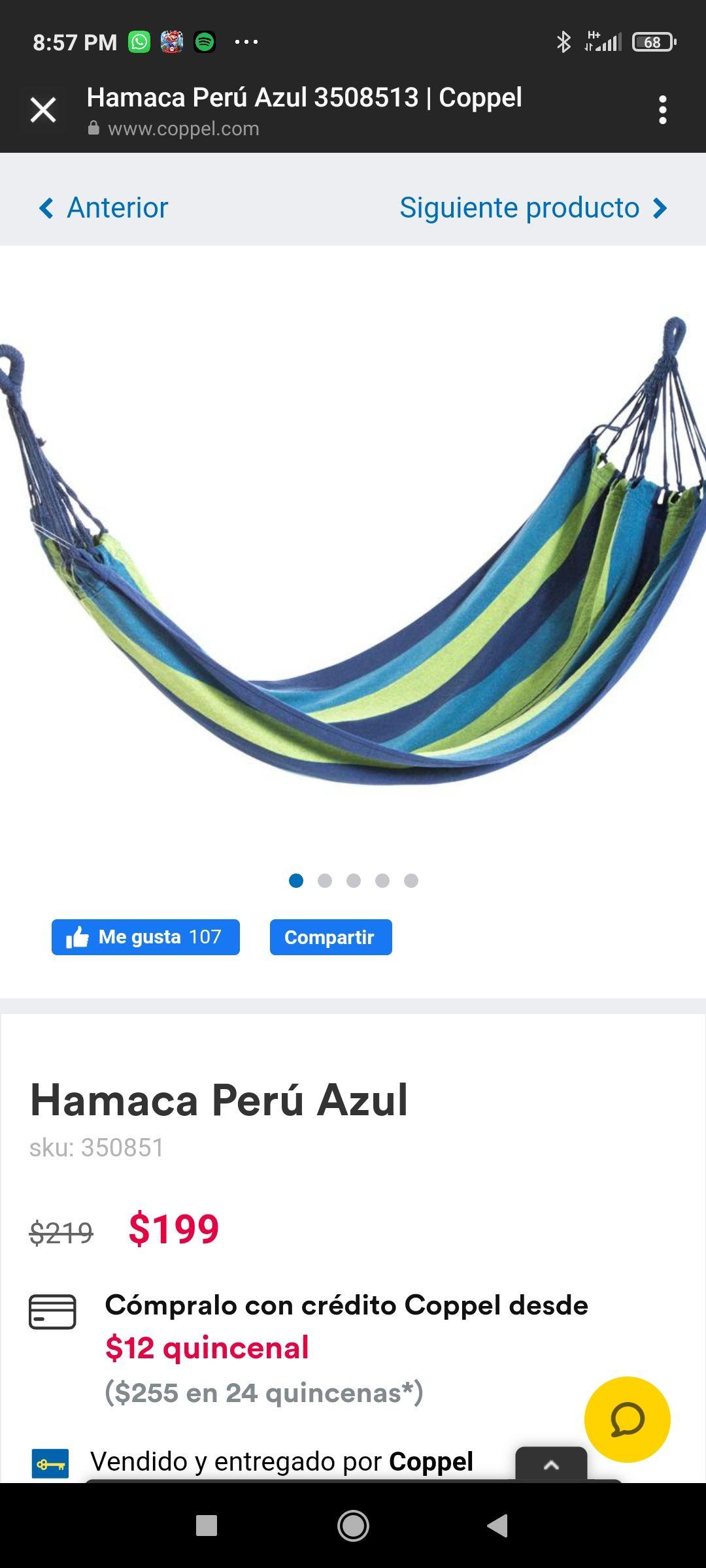 Coppel Hamaca Peru Azul
