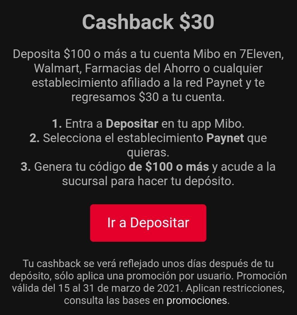 Mibo: Cashback de $30