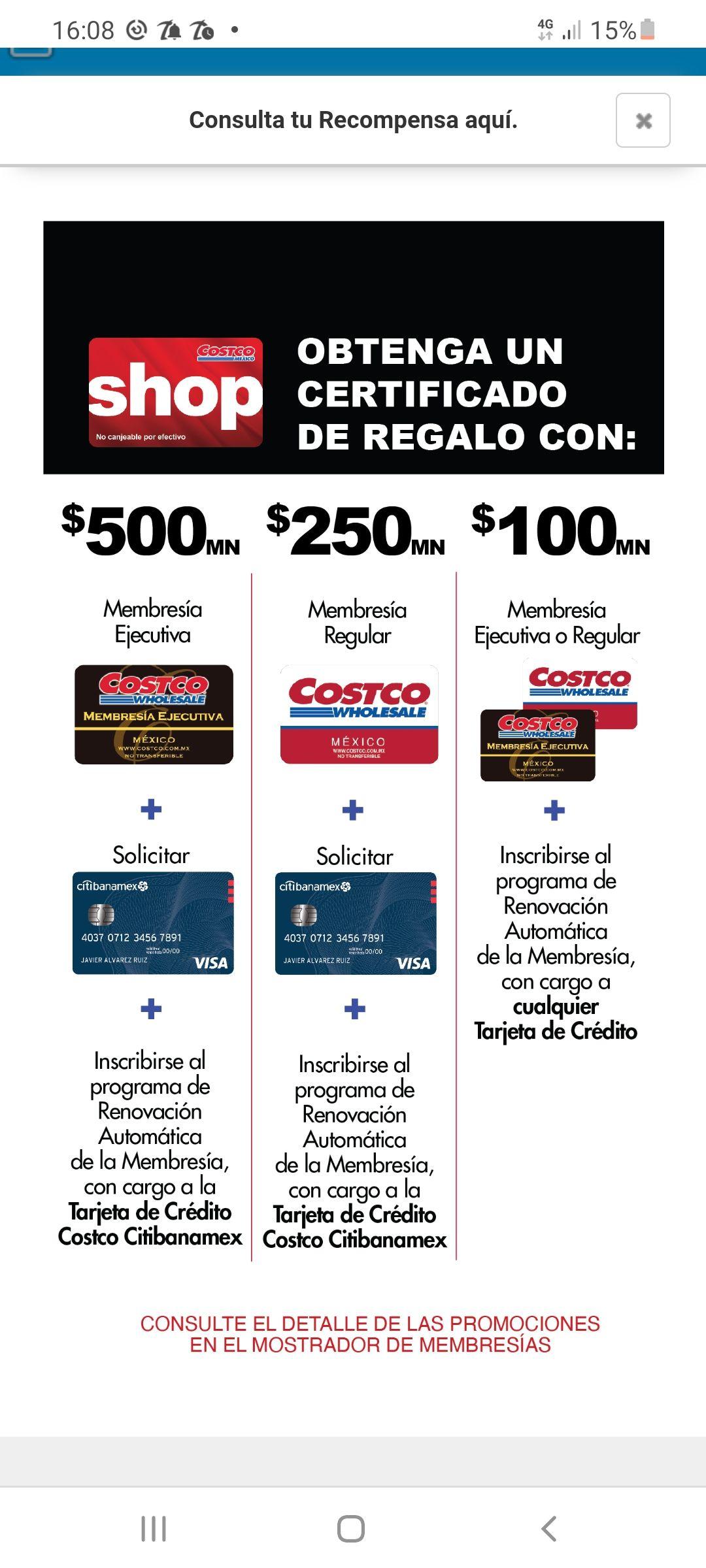 Costco: Certificado de regalo al renovar membresía con Citibanamex
