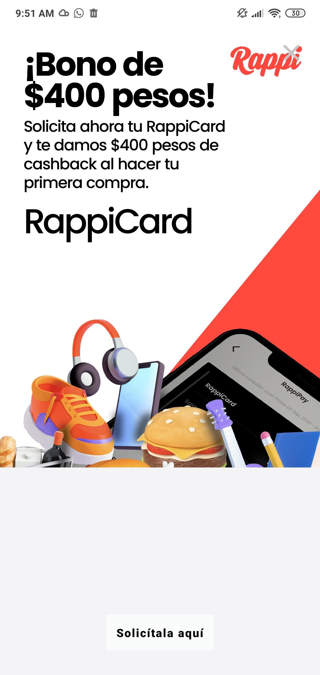 Rappi: Cashback de 400$ al realizar primera compra solicitando Rappicard.