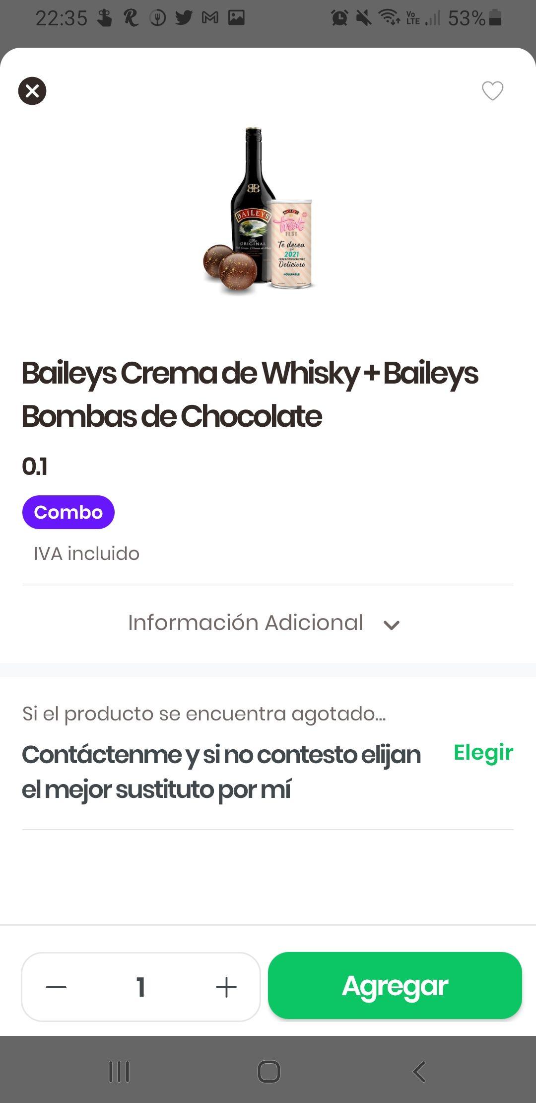 Rappi: Baileys casi regalado con compra mínima de $99 en Bebidas Ya