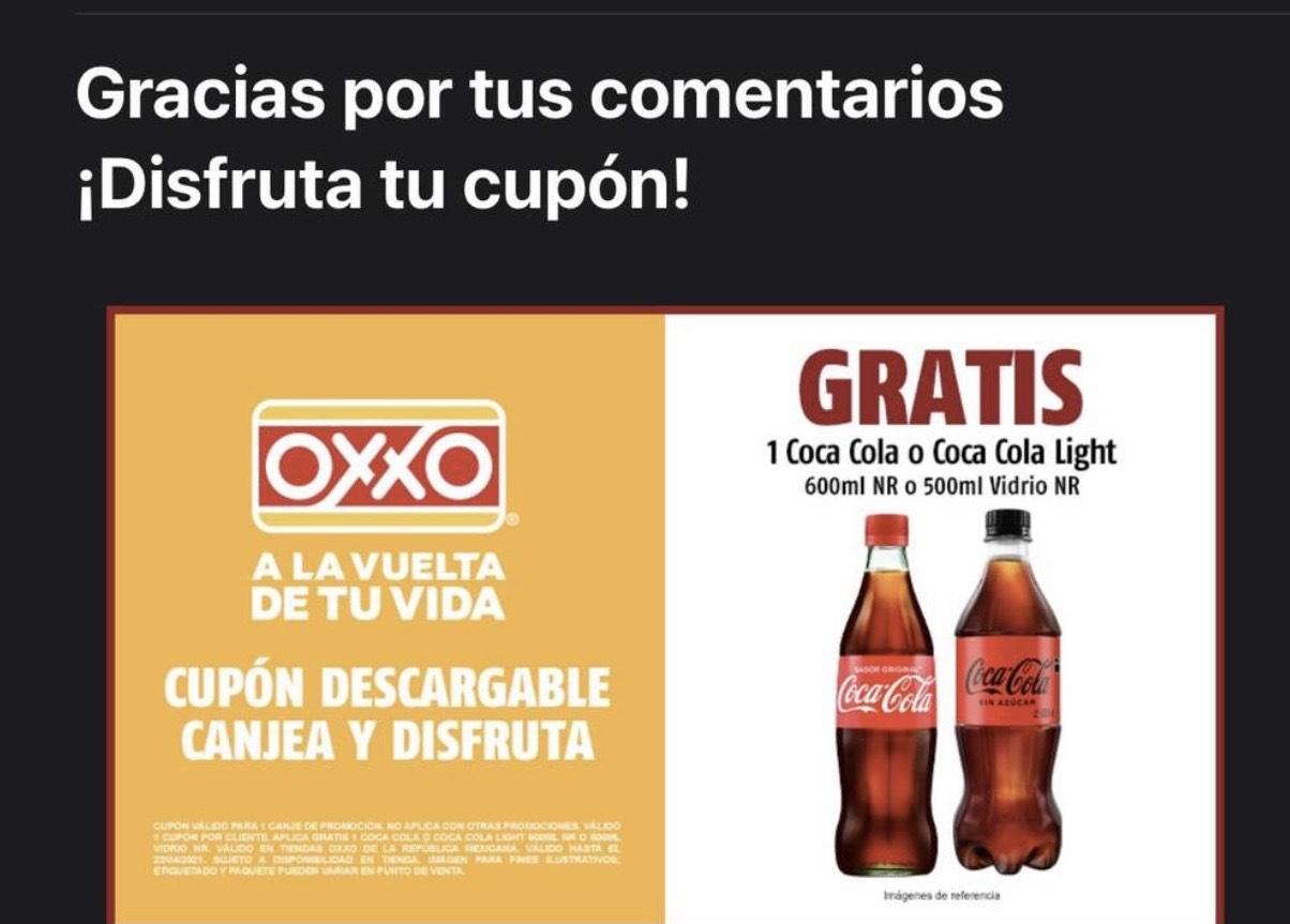 Oxxo: Gratis Coca de 500ml o 600ml