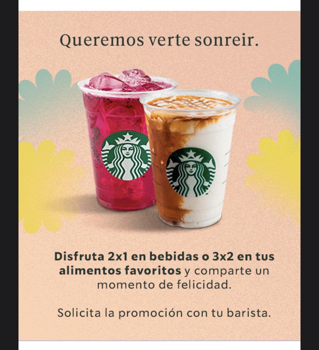 Starbucks 2x1 en café 3x2 en alimentos