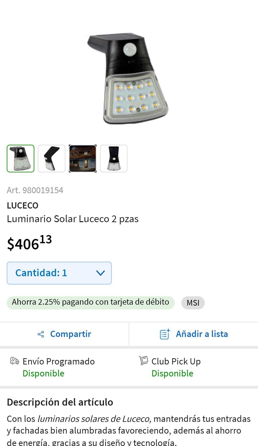 Sam's Club: Luminario solar 2 piezas