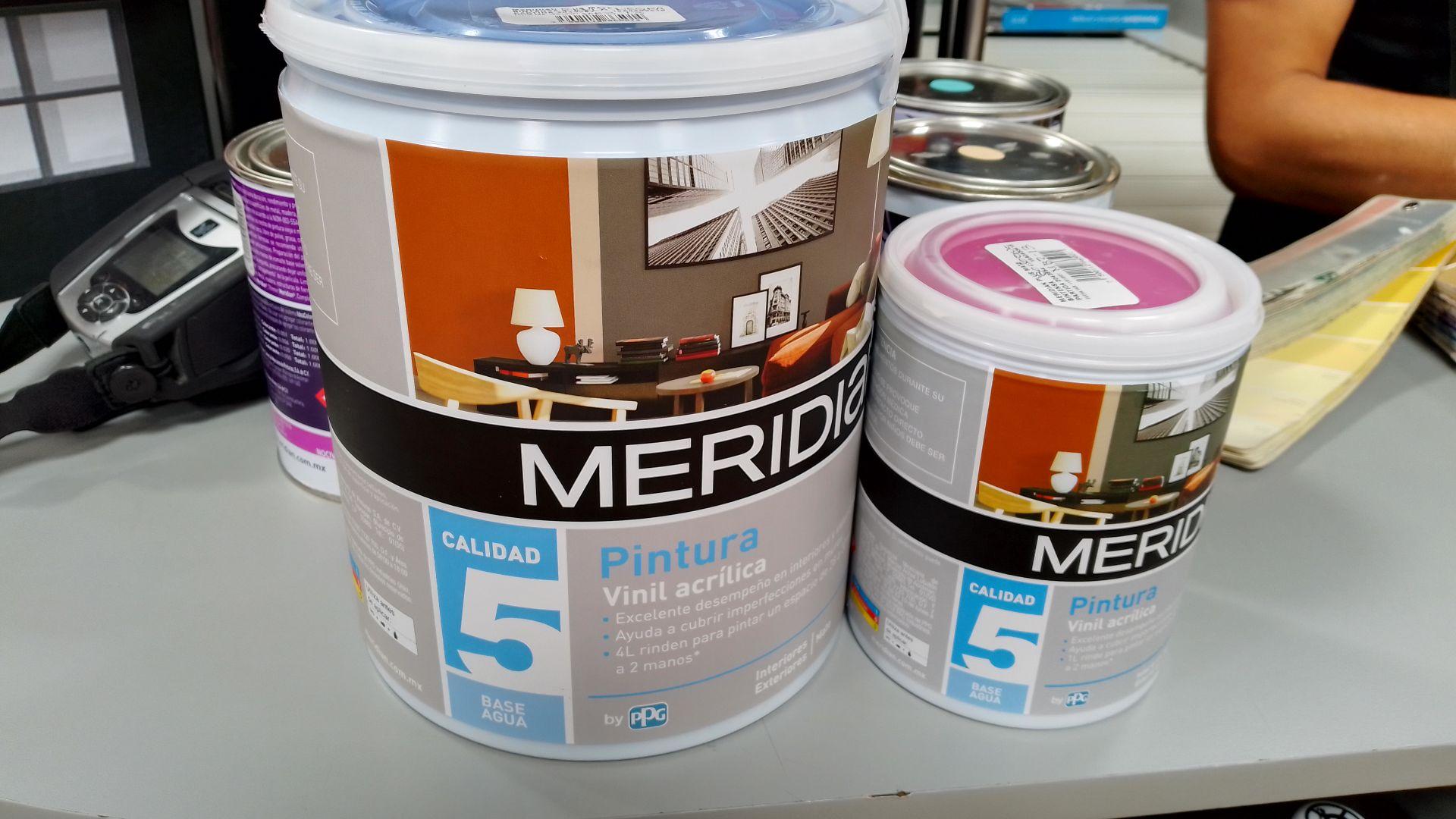 Walmart En compra de una lata de 4L de pintura meridian, 1 lt de pintura gratis