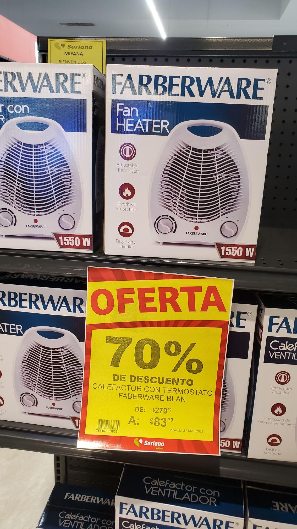 Soriana, Calefactor con termostato faberware blan