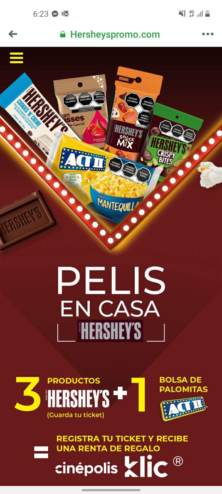 Cinepolis Klic: Compra 3 artículos Hershey's y unas Act II y llévate gratis una renta en Cinepolis Klic
