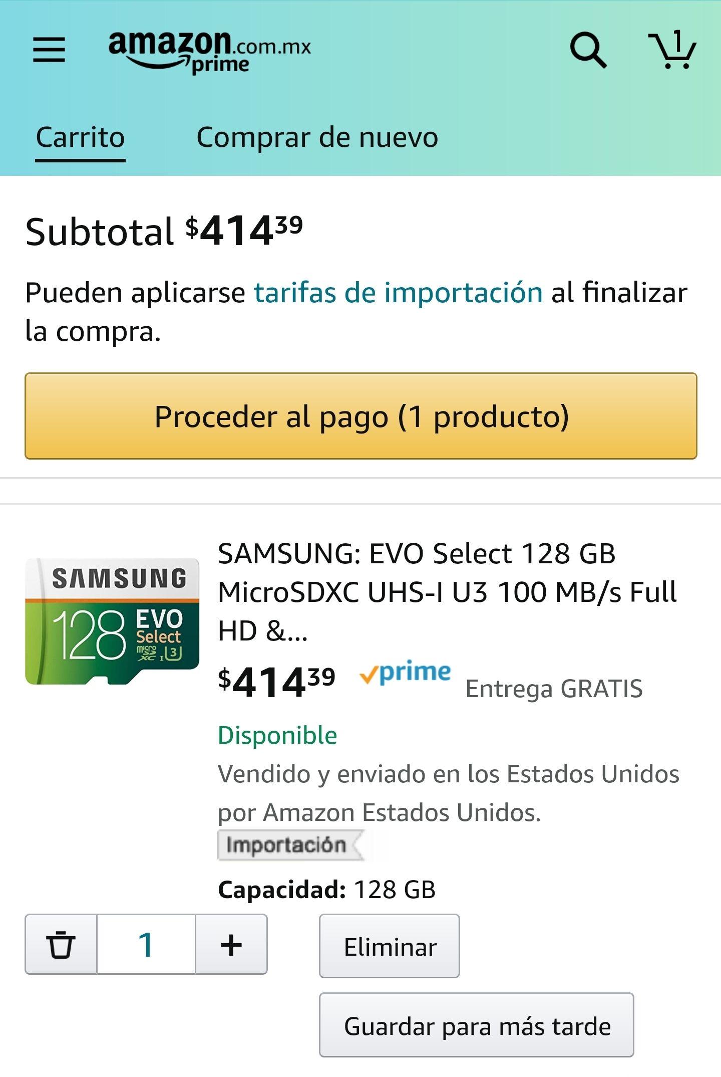 Amazon, Micro SD Samsung 128 GB