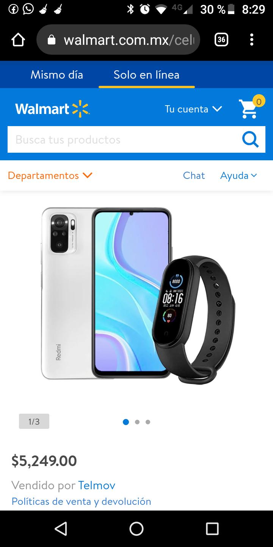 Walmart, Smartphone XIAOMI Redmi Note 10 Blanco 64GB 4Gb Desbloqueado Mas Mi Band 5 De Regalo Xiaomi Desbloqueado
