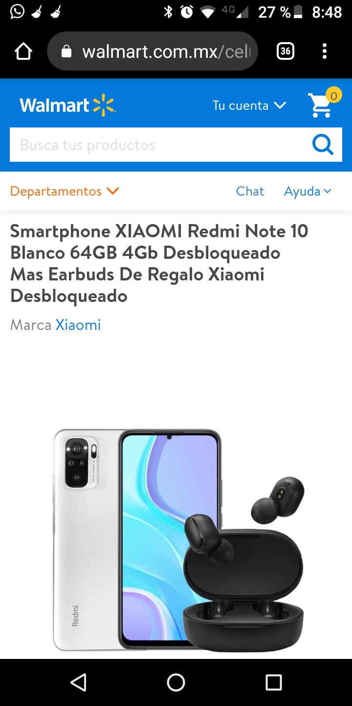 Walmart, Smartphone XIAOMI Redmi Note 10 Blanco 64GB 4Gb Desbloqueado Mas Earbuds De Regalo Xiaomi Desbloqueado
