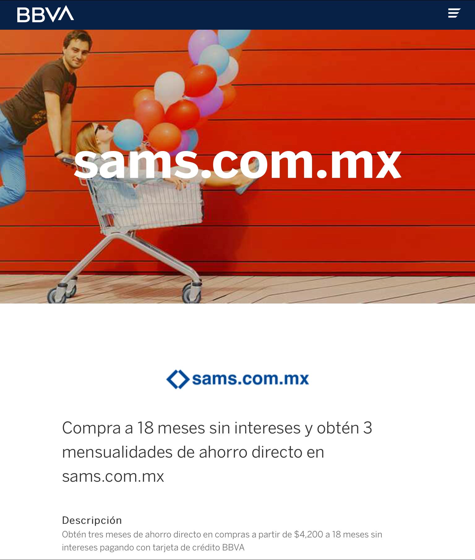 BANCOMER & SAMS CLUB 3 meses de bonificación en compras a 18 msi de $4200 o más, del 2 al 5 de Abril,