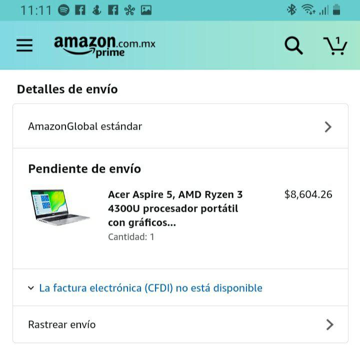 Amazon: Acer Aspire 5, AMD Ryzen 3 4300U 4 GB DDR4, 128 GB NVMe SSD, WiFi 5, lector de huellas, teclado retroiluminado,