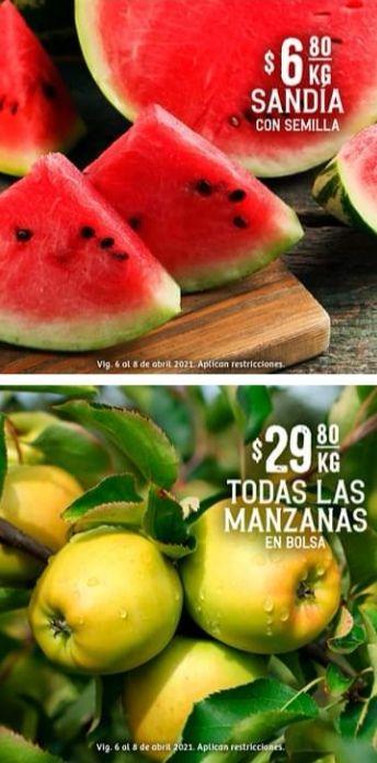 Soriana Híper y Súper: Martes y Miércoles del Campo 6 y 7 Abril: Sandía $6.80 kg... Todas las Manzanas en Bolsa $29.80 kg.
