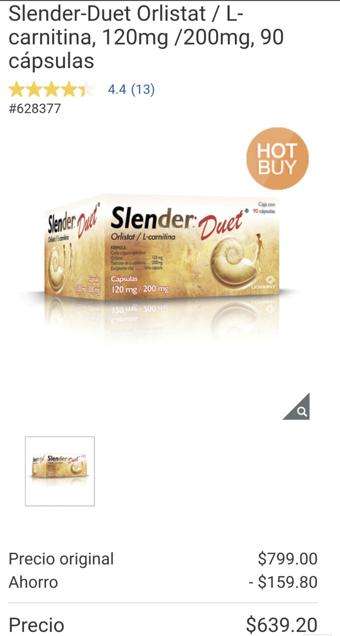 Costco: Slender-Duet Orlistat a súper precio