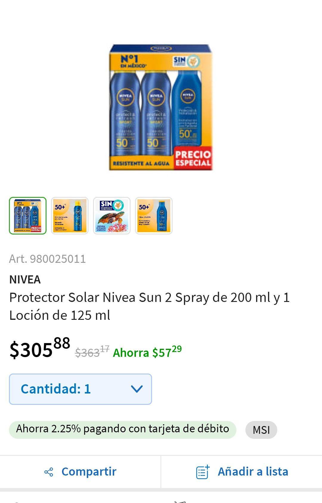 Sam's Club: Protector solar Nivea pack de 3