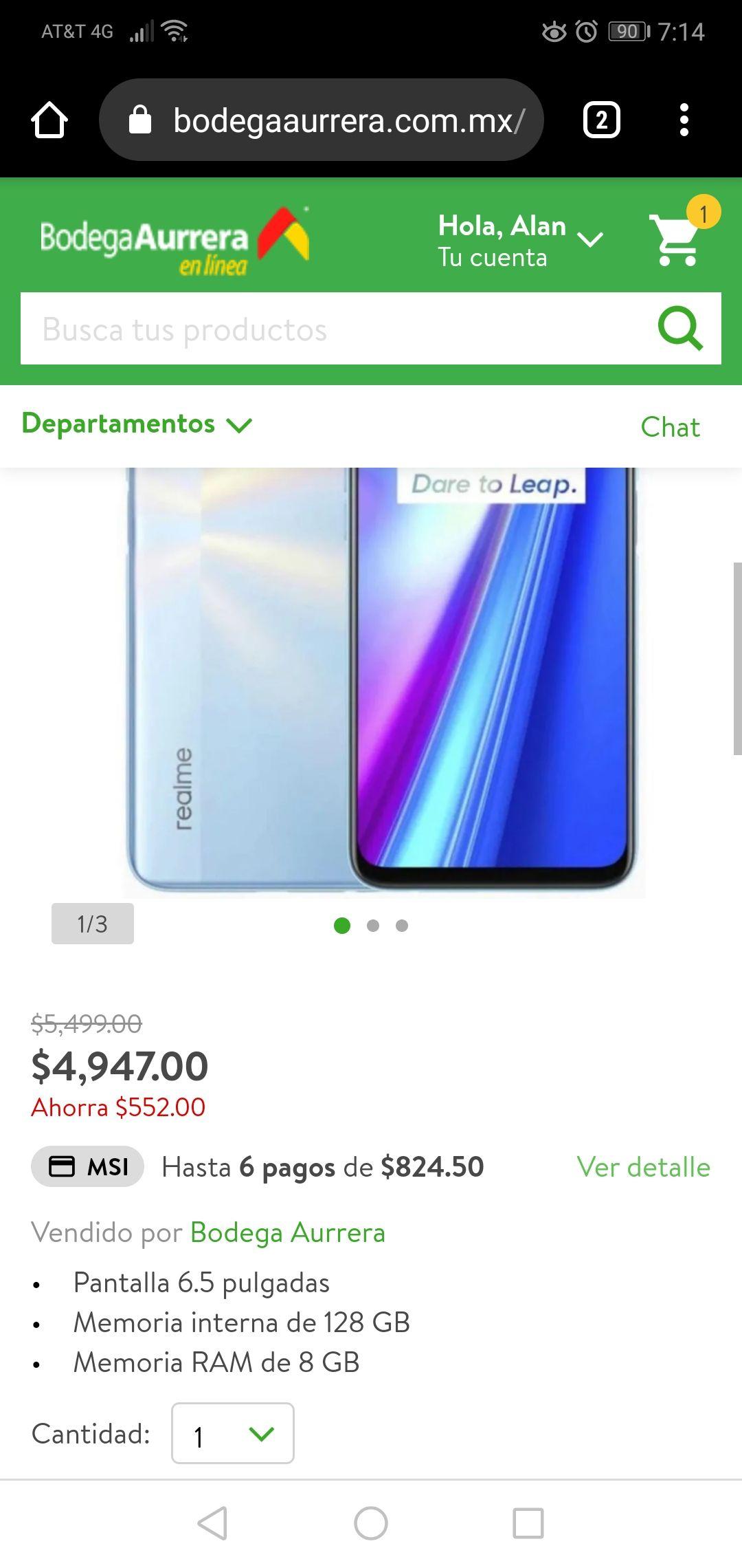 Bodega Aurrera: Realme 7 128 GB y 8 RAM DESBLOQUEADO