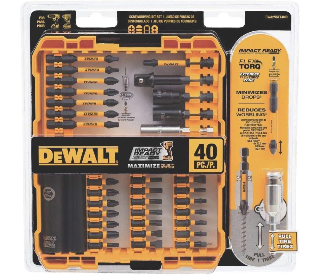 Amazon: DEWALT FlexTorq - Juego de puntas de destornillador de impacto (juego de puntas de destornillador), 40 piezas (DWA2NGFT40IR)