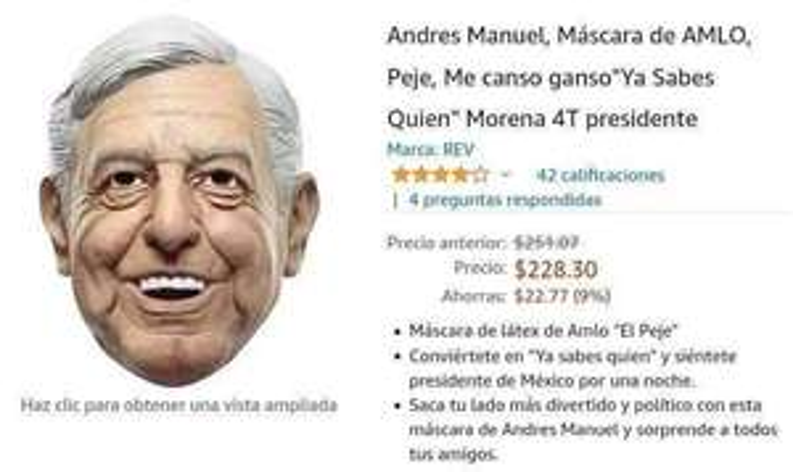 Amazon: Máscara de amlo Peje, me canso ganso