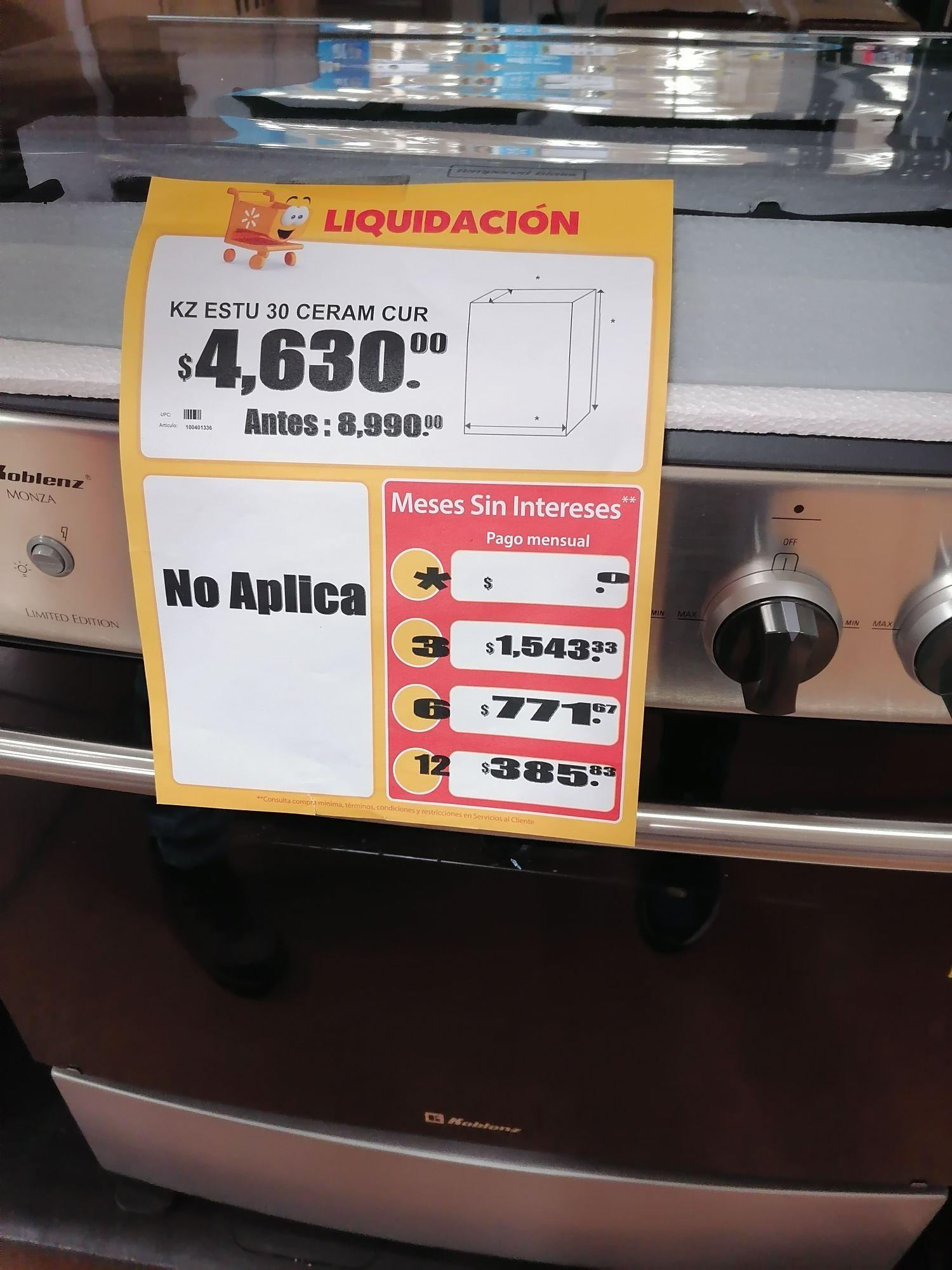 """Walmart Morelia Altozano: Estufa koblenz 30"""" edición limitada en liquidación de $8999 a $4600"""