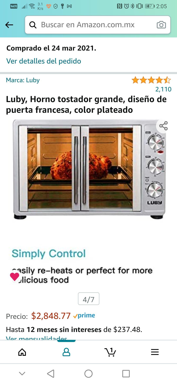 Amazon: Luby, Horno tostador grande, diseño de puerta francesa, color plateado, 55L.