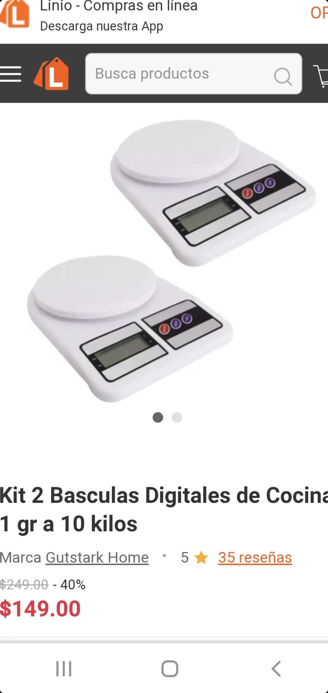 Linio: Kit 2 Basculas Digitales de Cocina 1gr a 10 Kilos