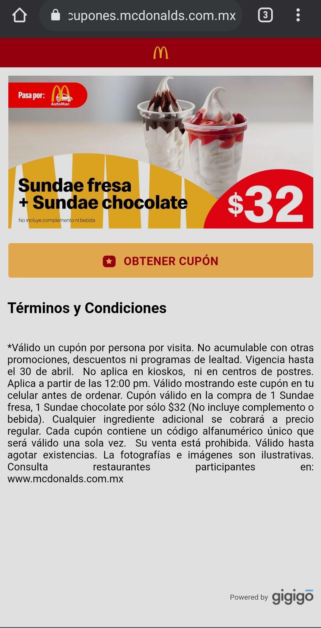 McDonald's: 2 Sundae X $32 pa' la calor's (aplica autoMC)